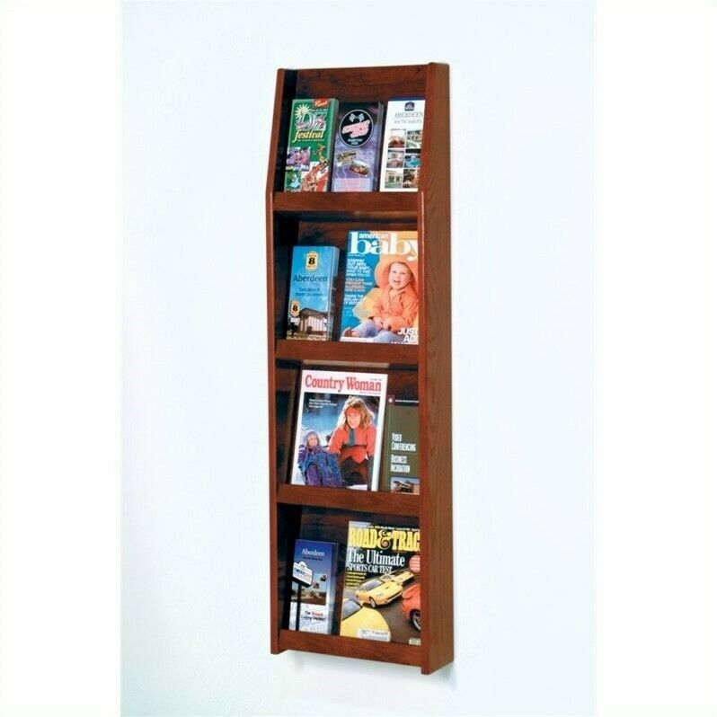 Wooden Mallet Literature Display in 12 Pocket in Mahogany