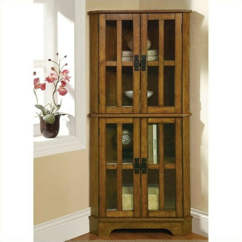 Coaster 4 Shelf Corner Curio Cabinet in Golden Brown