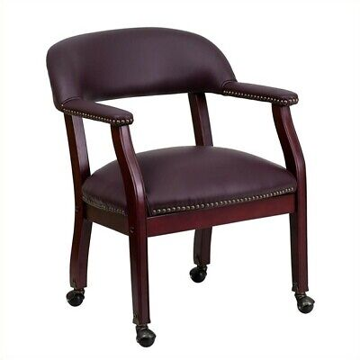 Scranton Co Leather Arm Guest Chair With Casters In Burgundy