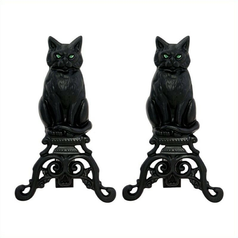 Pemberly Row Black Cast Iron Cat Andirons With Reflective Glass Eyes