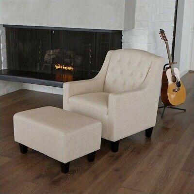 Noble House Rodrigo Club Chair and Ottoman in Beige