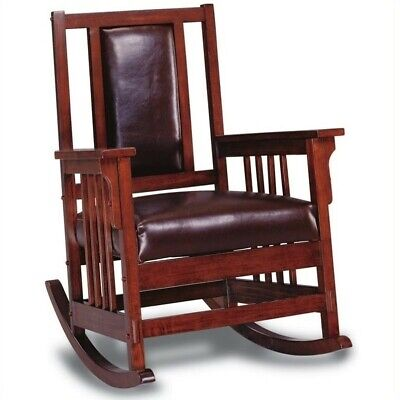 - Coaster Mission Style Wood Rocker with Leather Match Seat and Back