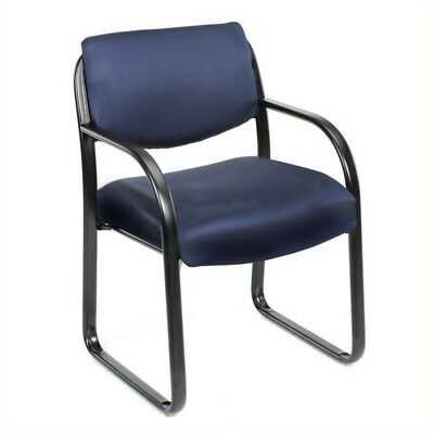 Boss Office Products Fabric Sled Base Guest Chair with Arms in Blue