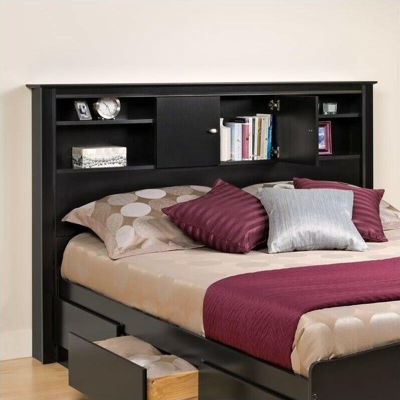Prepac Kallisto Full / Queen Bookcase Headboard in Black Finish