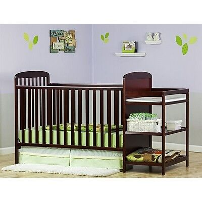 Dream On Me Anna 4in1 Full Size Crib and Changing Table in Cherry