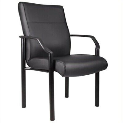 Boss Leather Guest Chair - Boss Office Products Metal 4 Leg Side Guest Chair in Leather Plus