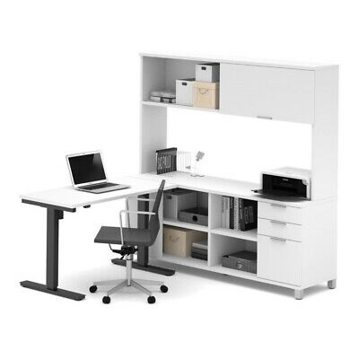 Bestar Pro Linea Power Adjustable L Table With Hutch In White