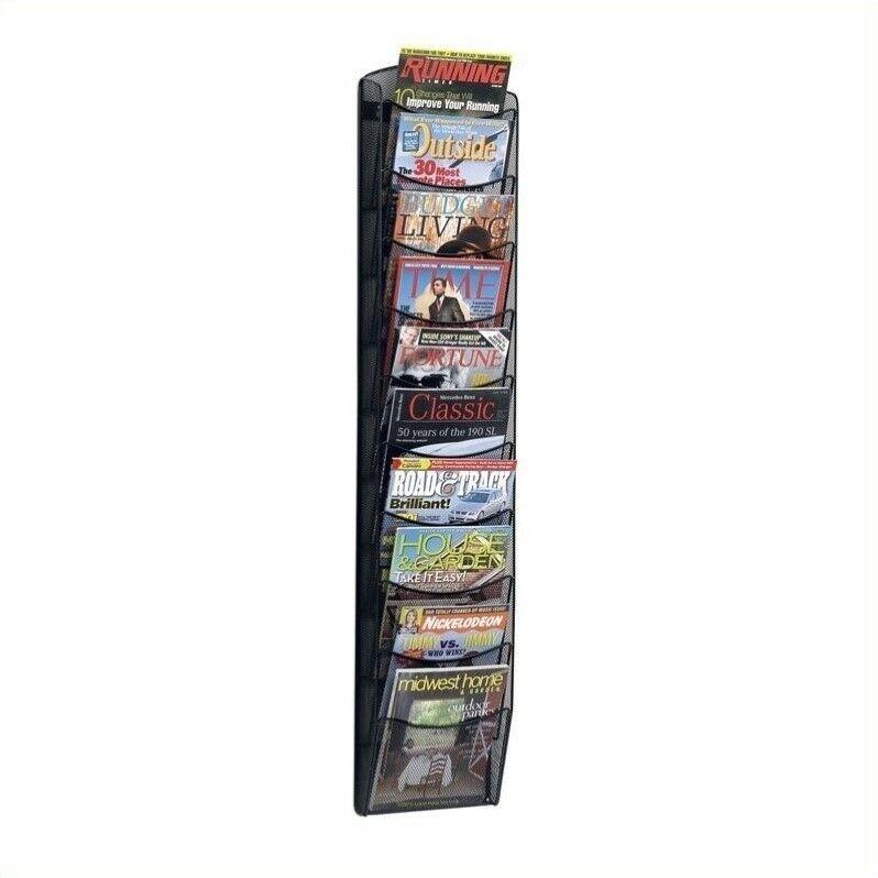 Safco 10-Pocket Black Onyx Magazine Rack
