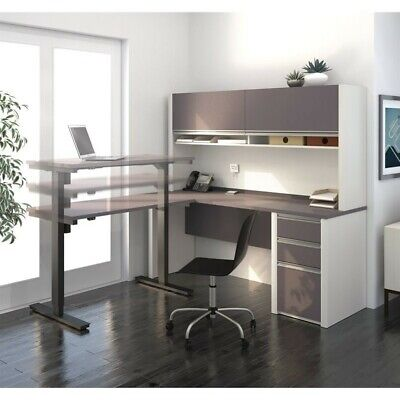 Bestar Connexion L-shaped Table With Hutch In Slate And Sandstone