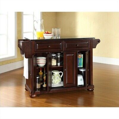 Crosley Furniture Alexandria Black Granite Top Kitchen Island in Mahogany ()