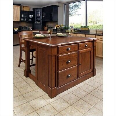 Home Styles Aspen Kitchen Island & Two Stools