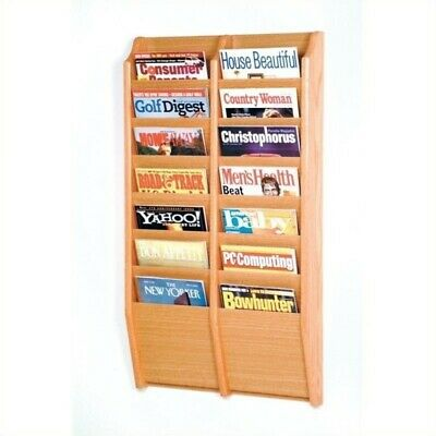 Pemberly Row 14 Pocket Wall Mount Magazine Rack in Light Oak