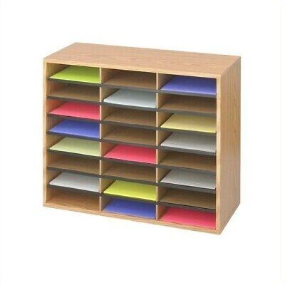Safco Medium Oak Woodcorrugated 24 Compartment Literature Organizer