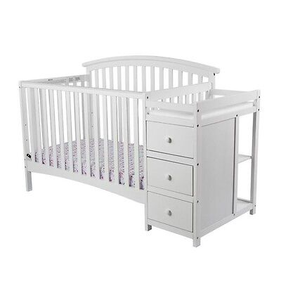 Dream On Me Niko 5-in-1 Convertible Crib with Changer in White