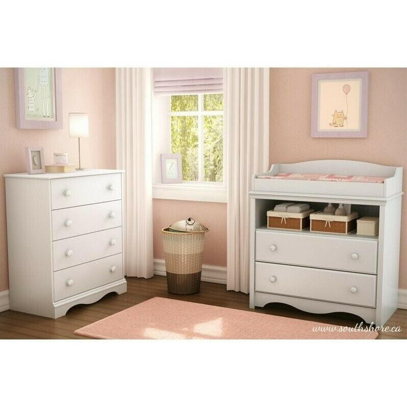 South Shore Heavenly Wood Changing Table and Chest Set in White