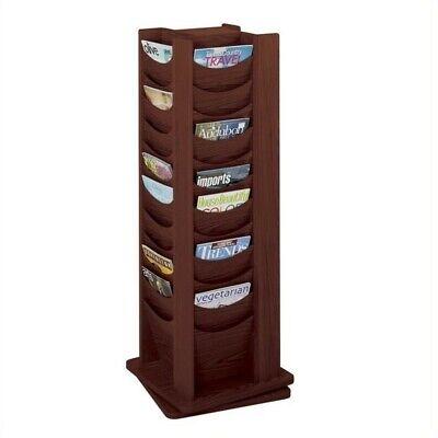 Safco 48-Pocket Solid Wood Rotating Magazine Rack in Mahogany (48 Pocket Solid Wood)