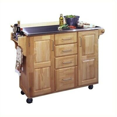 Kitchen Cart With Breakfast Bar - Home Styles Furniture Stainless Steel Kitchen Cart with Breakfast Bar in Natu...