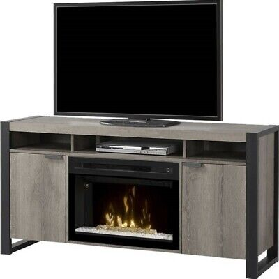 Bowery Hill Electric Fireplace TV Stand with Acrylic in Steeltown ()