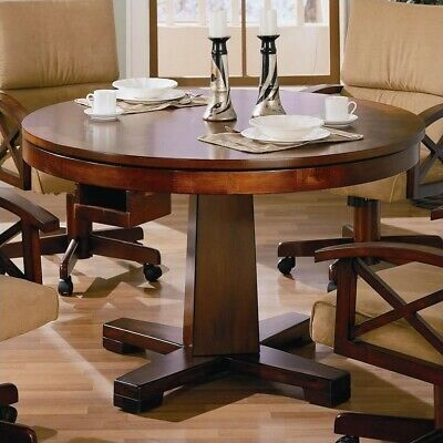 Dining Room Oak Game Table (Coaster Marietta 3-in-1 Game Table in Dark Oak )