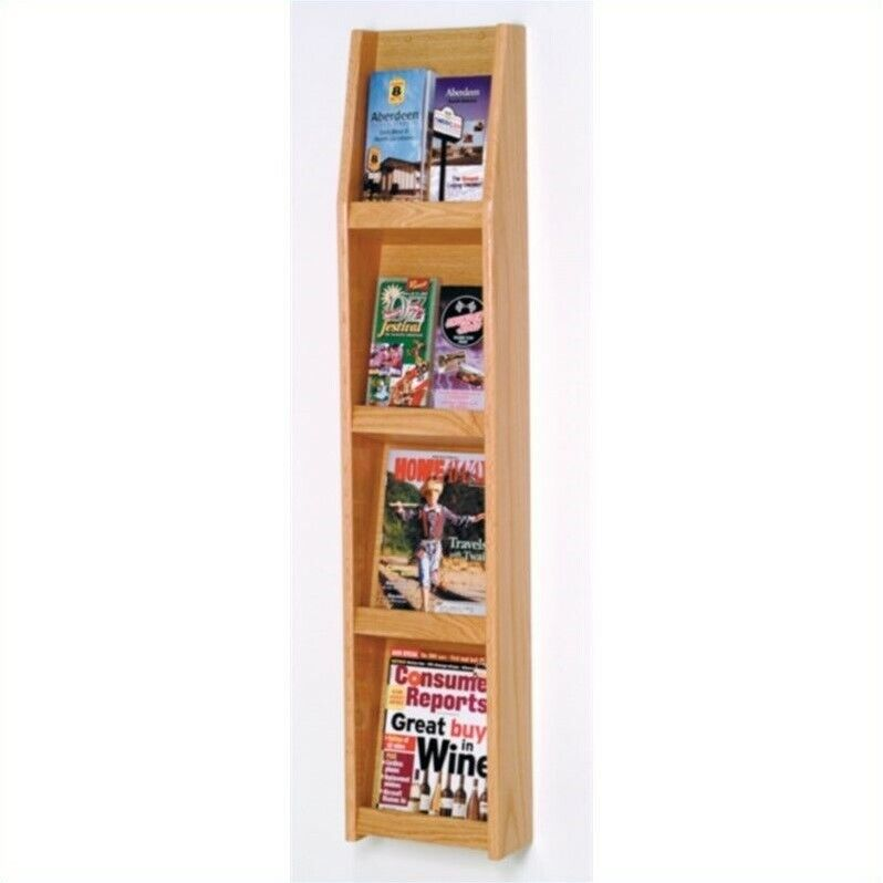 Wooden Mallet Literature Display in 8 Pocket in Light Oak