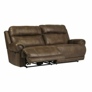 Ashley Austere 2 Seat Faux Leather Reclining Sofa In Brown Ebay
