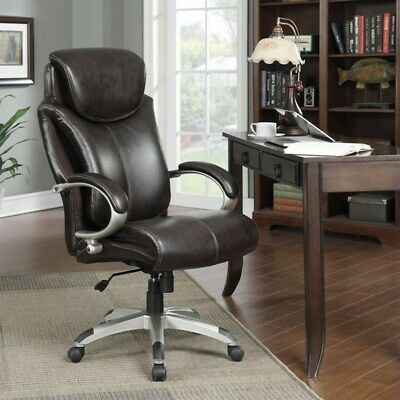Serta Air Executive Office Chair In Brown Bonded Leather