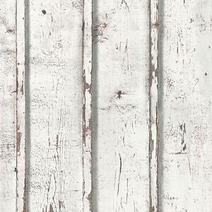 off white grey brown rustic timber wood look wallpaper