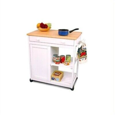 Pemberly Row Hollow White Kitchen Cart with Butcher Block