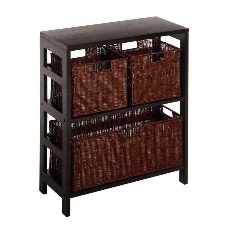 Pemberly Row 4 Piece Shelf and Basket Set in Espresso Beechwood