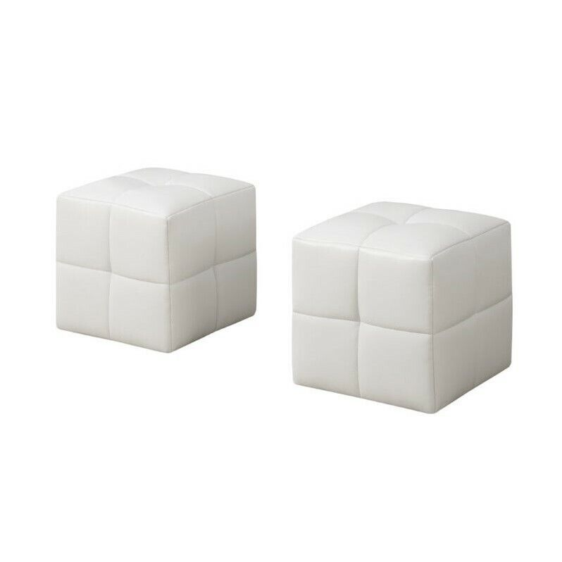 Monarch Faux Leather Cube Ottoman in White (Set of 2)