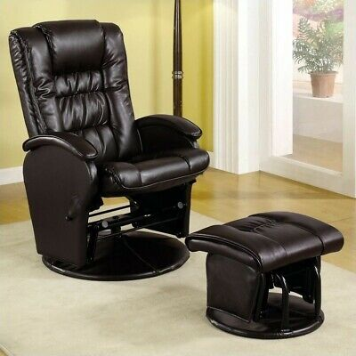 Coaster Faux Leather Like Glider Chair with Matching Ottoman in Brown - Leather Like Glider Recliner