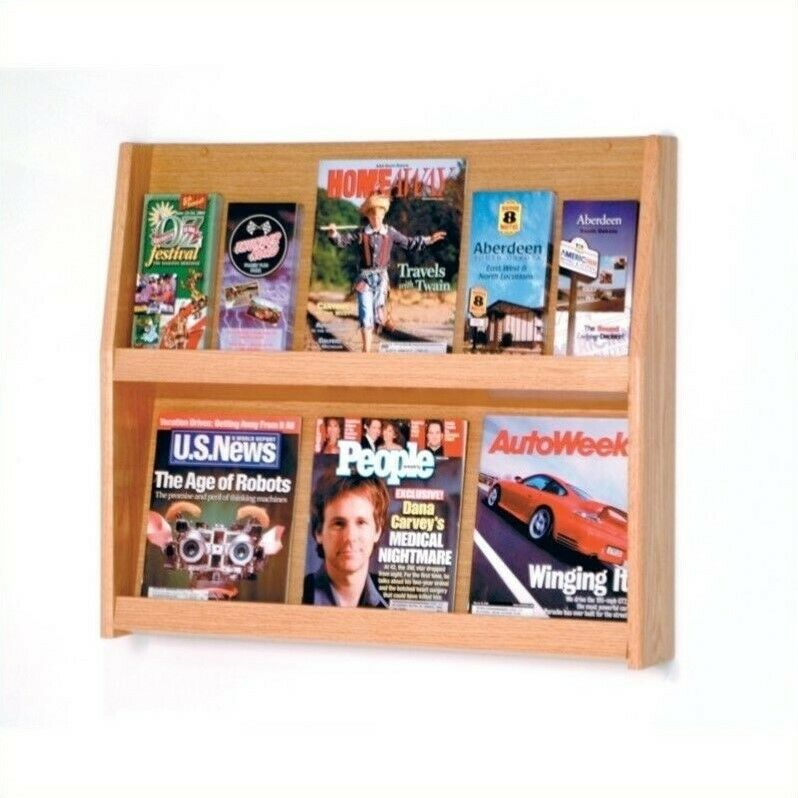 Wooden Mallet 12 Pocket Literature Display in Light Oak