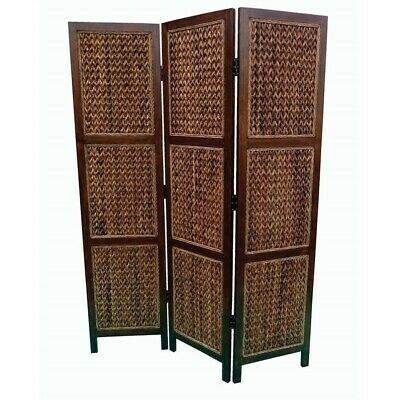 - Coaster 3 Panel Woven Banana Leaf Folding Screen in Natural and Honey