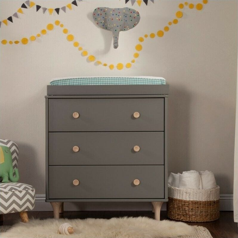 Babyletto Lolly 3-Drawer Changer Dresser with Removable Changing Tray in Gray...
