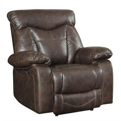 Bowery Hill Faux Leather Motion Recliner in Dark Brown