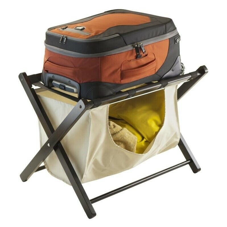 Winsome Dora Luggage Rack with Fabric Basket in Espresso