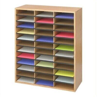 Safco Medium Oak Woodcorrugated 36 Compartment Literature Organizer