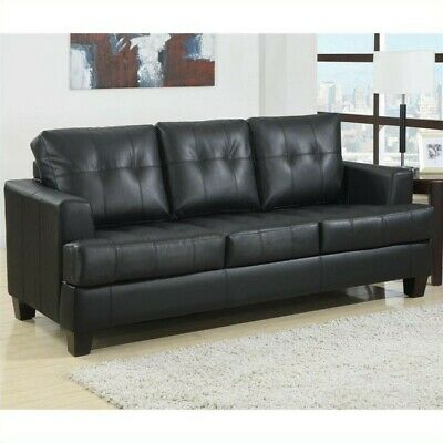 Coaster Samuel Leather Sleeper Sofa Bed in Black Bonded Leather Sofa Bed