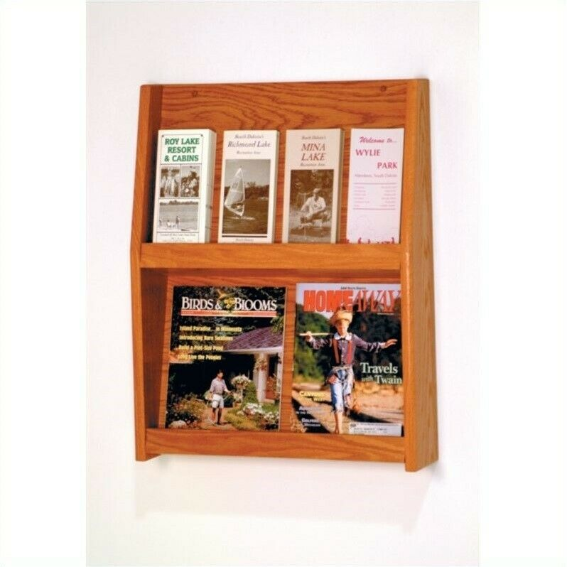 Wooden Mallet 8 Pocket Literature Display in Medium Oak