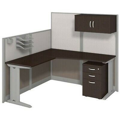 Office In An Hour L Shaped Cubicle Workstation With Storage In Cherry