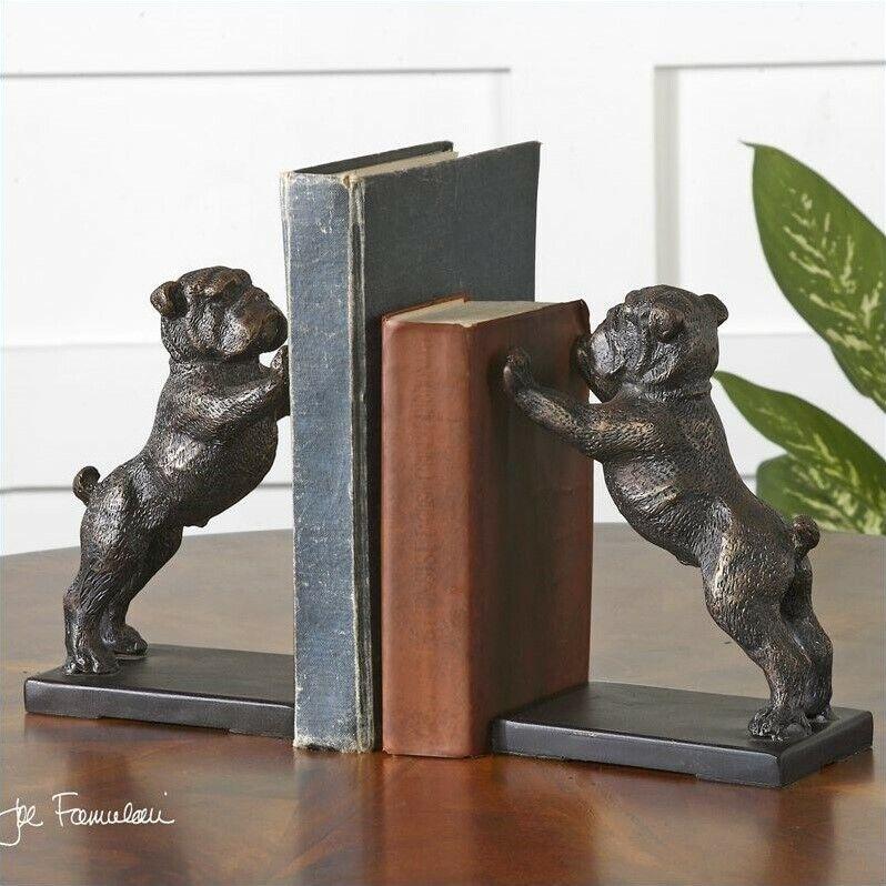 Uttermost Bulldogs Cast Iron Bookends Golden Bronze (Set of 2)