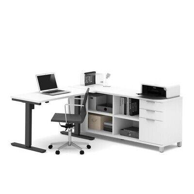 Bestar Pro Linea L Shape Power Adjustable Table In White