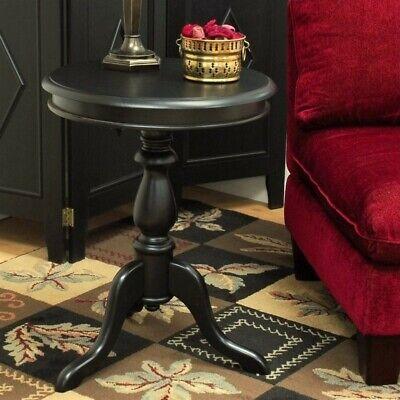 Carolina Classic Leeann Pedestal Accent Table in Black (Black Classic Pedestal)