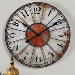 Uttermost Ellsworth 29 Wall Clock in Rust Red and Rustic Bronze