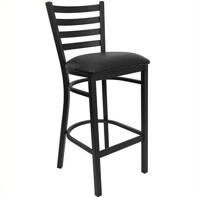 Flash Furniture XU-DG697BLAD-BAR-BLKV-GG Black Ladder Back