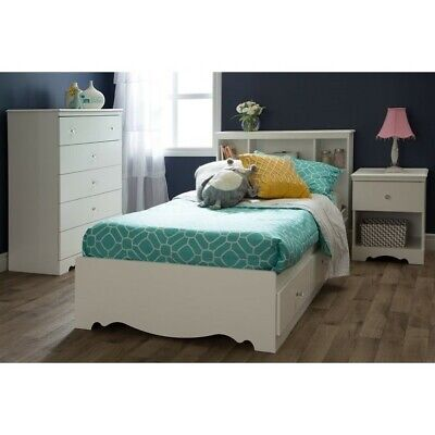 South Shore Crystal Twin Mates Bed in Pure White ()