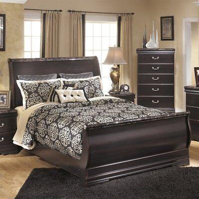 Ashley Esmarelda Wood Queen Sleigh Bed in (Merlot Queen Sleigh Bed)