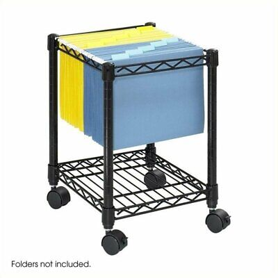 Safco Compact Metal Mobile File Cart In Black