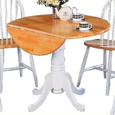 Coaster Damen Round Pedestal Drop Leaf Dining Table in Natural and White ()