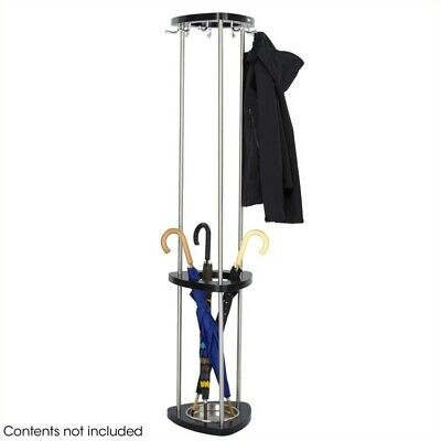 Safco Mode Wood Costumer With Umbrella Rack in Black